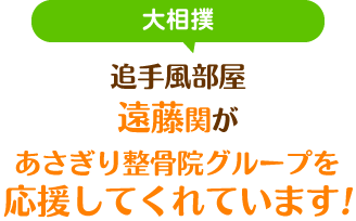 大相撲 追手風部屋遠藤関があさぎり整骨院グループを応援してくれています!
